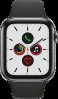 Apple Watch Smartwatch Watch Series 5 GPS + Cellular, 44mm  Edel. schwarzes Armband Space Schwarz